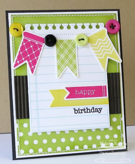 Bitty Banners; Journal It - Top Ten; Birthday Greetings; Bitty Banners Die-namics; Peek-a-Boo Dots Die-namics; Insert It - 3x4 Notepad; Fishtail Flags STAX Die-namics - Melody Rupple