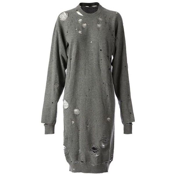 MAISON MARTIN MARGIELA distressed sweater dress ($1,415) ❤ liked on Polyvore featuring dresses, gray sweater dress, grey dress, loose long sleeve dress, loose sweater dress and cashmere dress