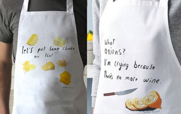 A cheap aprons printed with an array of funny phrases.