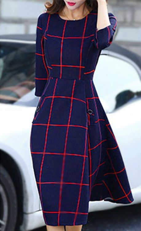 Chic Round Collar 3/4 Sleeve A-Line Plaid Women's Dress