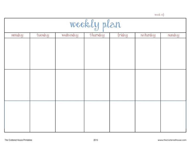 Best Printable Weekly Calendars Images On   Planners
