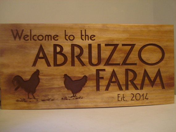Personalized Carved Wooden Chicken and Rooster House Farm