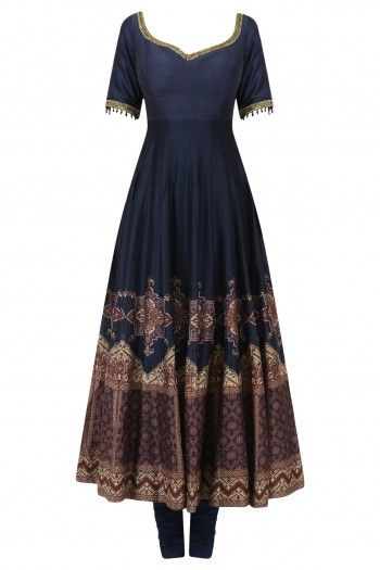 Ekaya Blue Embroidered Anarkali Set