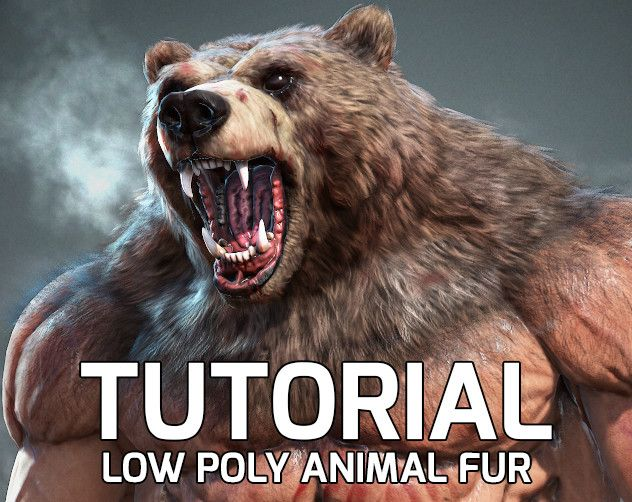 Low poly animal fur tutorial, Nikita Volobuev on ArtStation at https://www.artstation.com/artwork/3m9qD
