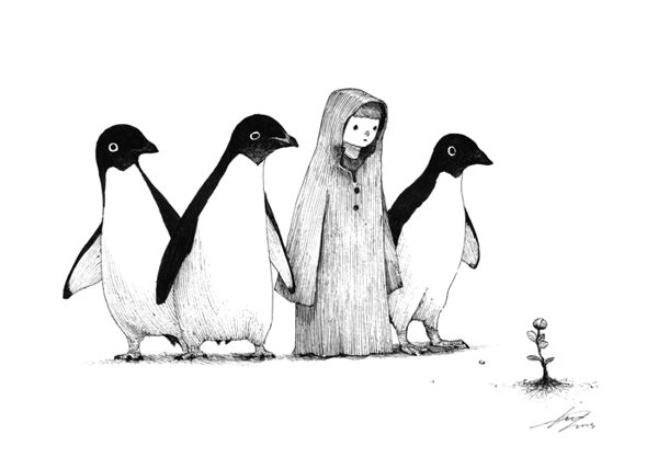 Adventure of boy with penguin by Sungwon, via Behance. You MUST click through to see the rest; they're delightful.