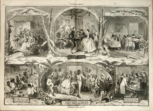 This image was fairly controversial when it printed in Harper's Weekly April 13, 1861. Depicting slaves as doing the same things as whi...