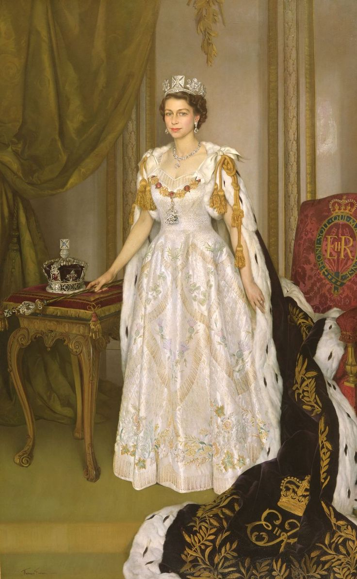 The state portrait of The Queen (b. 1926) was commissioned to commemorate Her Majesty's Coronation, which took place on 2 June 1953. Her Majesty's dress, made of white satin, was designed by Sir Norman Hartnell, The Queen's principal dressmaker. The embroidery design incorporates national and Commonwealth emblems executed in seed pearls, crystals, coloured silks and gold and silver thread.