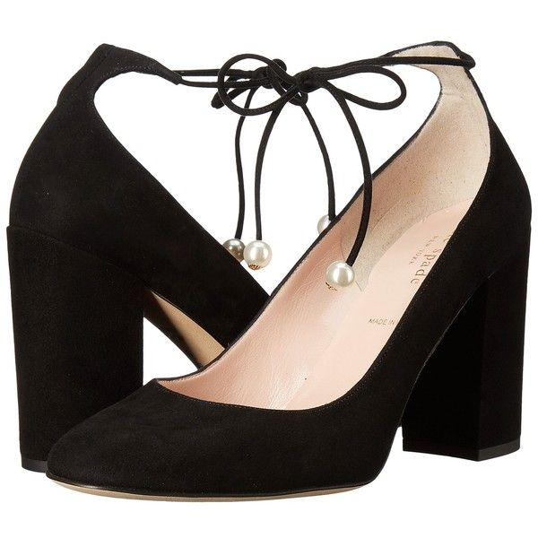 Kate Spade New York Gena (Black Kid Suede) Women's Shoes (€255) ❤ liked on Polyvore featuring shoes, pumps, black pumps, black platform pumps, platform pumps, high heel pumps and black chunky heel pumps