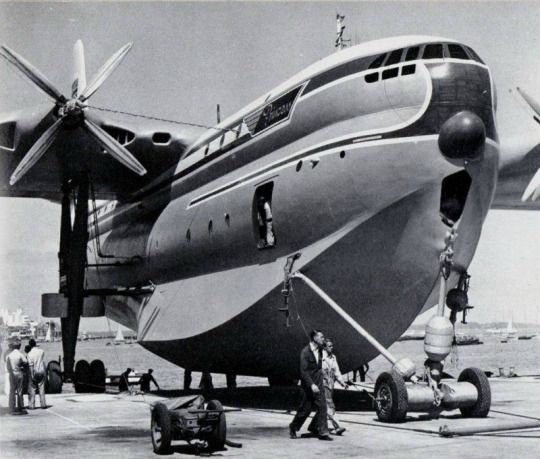 """British flying boat SR.45 """"Princess"""" on a special chassis for land transport."""
