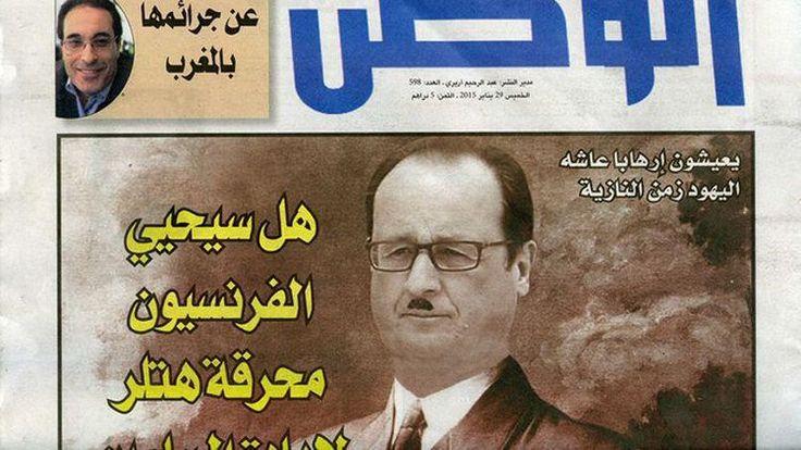 Hollande grimé en Hitler dans un journal marocain - Libération