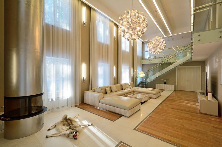 Дизайн гостиной загородного дома, Санкт-Петербург (2000 кв.м.) - Дизайн-студия ICON