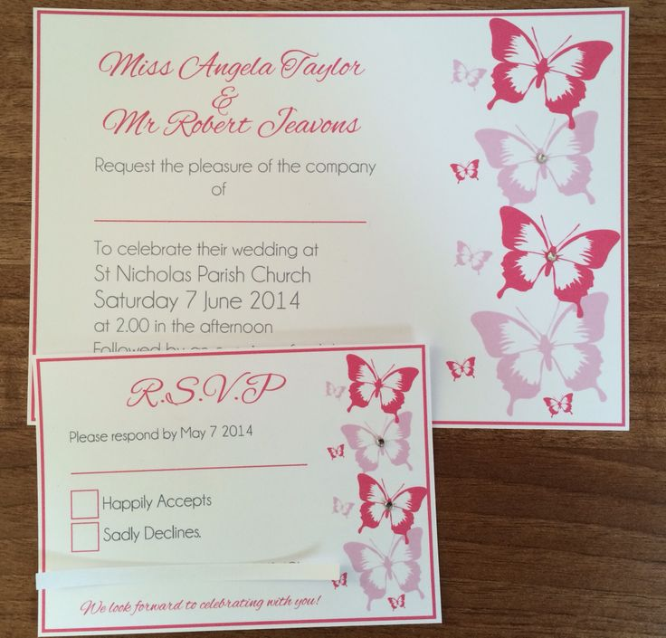 A5 Hot Pink And Baby Pink Butterfly Wedding Invitation And