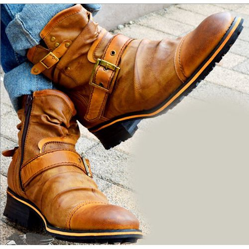 Russet Leather Retro Vintage Western Cowboy Fashion Boots Men SKU-1280575