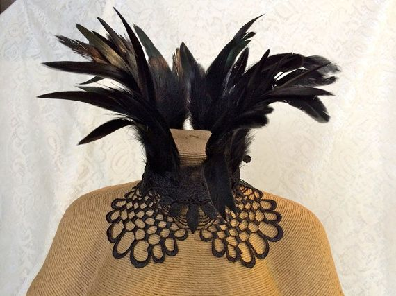 Maleficent feather collar - Victorian feather ruff necklace - black goth witchy feather choker - cosplay choker necklace