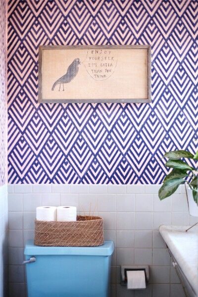 http://www.abeautifulmess.com/2014/03/create-a-wallpaper-look-with-geometric-stenciling.html