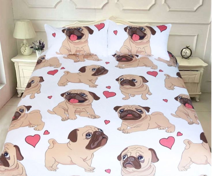 Hippie Pug Bedding Set Queen Size Animal Cartoon Bed Set for Kids Cute Bulldog Print Duvet Cover Home Bedclothes //Price: $57.96 & FREE Shipping //     #frenchbulldog #bulldog #bulldoglovers