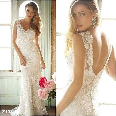 2014 Sexy New Lace V Neck Mermaid Bridal Wedding Dresses Gown Custom All US Size