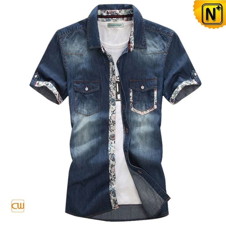 Mens Fashion Short Sleeve Denim Shirts CW114322 Cool summer menswear button up fashion short sleeve denim shirts for men works well as casual wear and also dressed up for the office, comfortable 100% cotton denim shirts with slim fitting style!