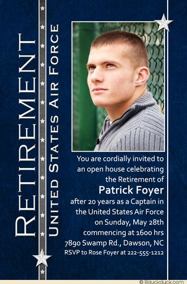 Your military or civilian-clothes photo is the focus of military retirement party photo invitation, customizable to any celebration event, official ceremony