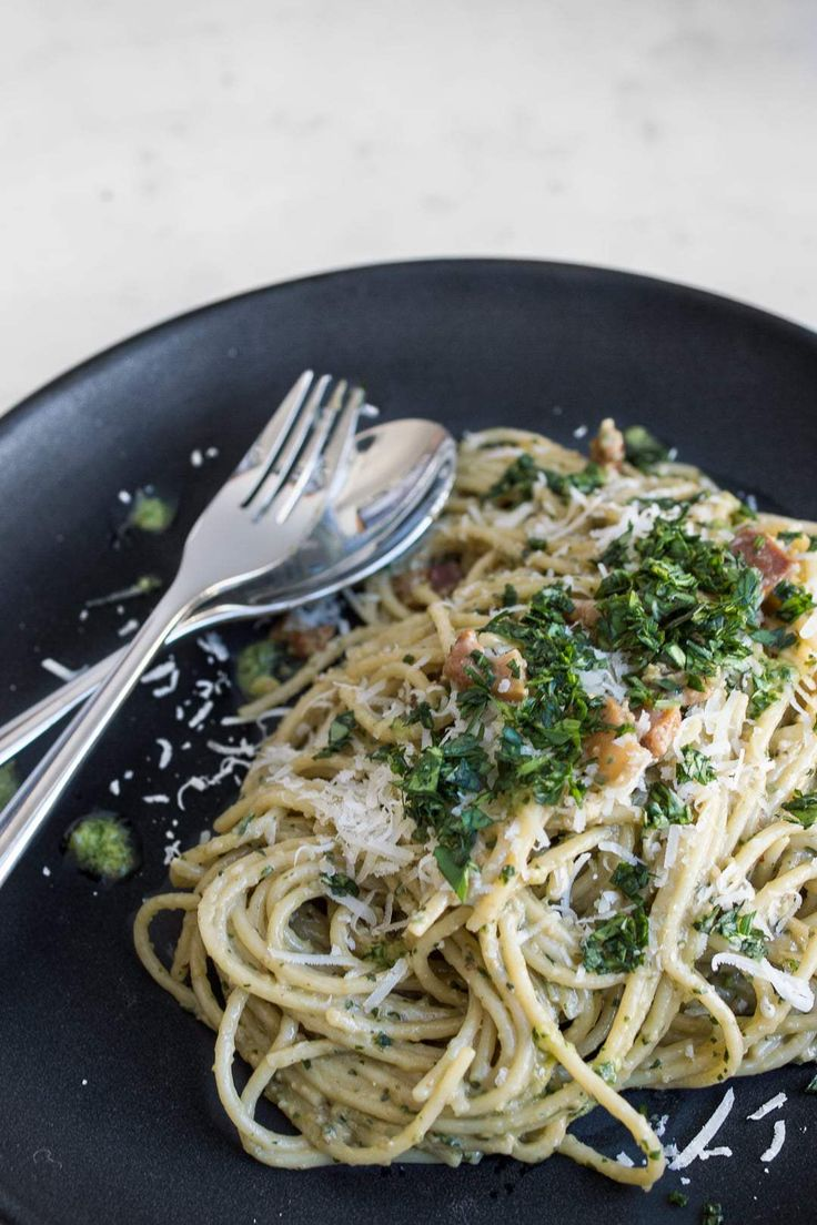 Made creamy with egg yolks and tossed with hot pasta and a bit of bacon fat, carbonara prides itself on simple, quality ingredients that when combined make for a flavourful and soulful dish. #BeautifulFood #Pesto #Carbonara #Italian #EasyFood #QuickDinner #EasyDinner #Pasta