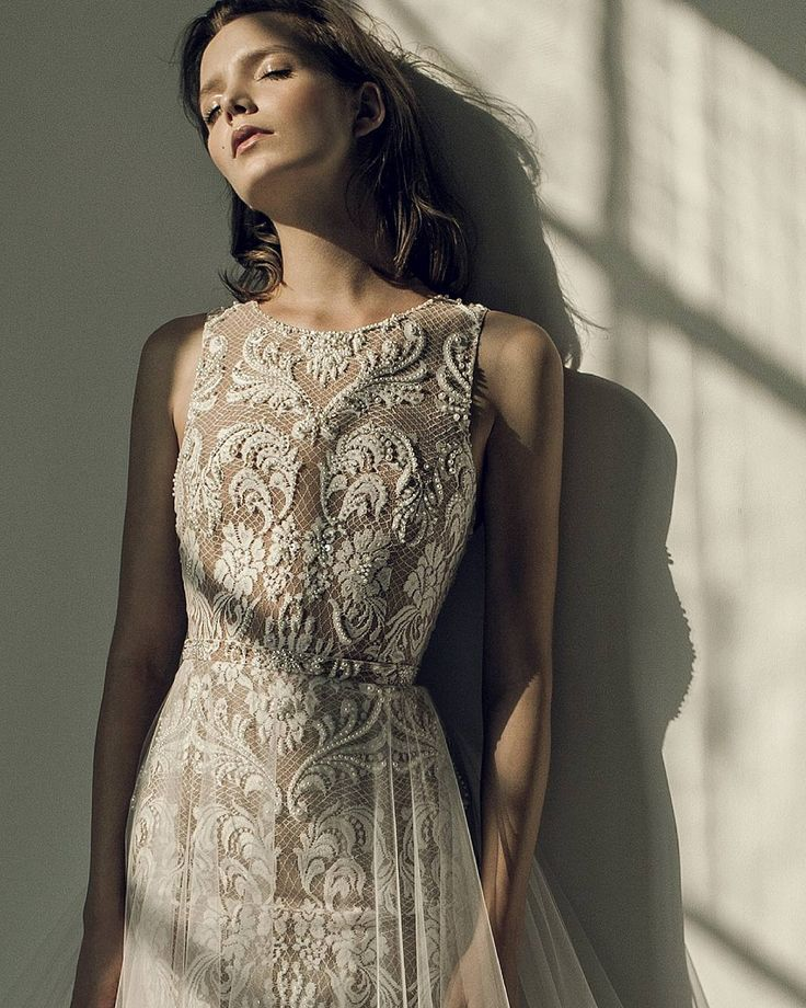 Ersa Atelier  fw17 Noelle wedding dress. Sleeveless hand embroidered french lace with Swarosvki pearl and crystal beading bridal dress