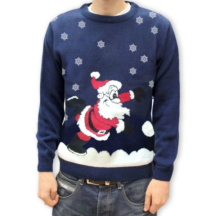 Męski sweter z Mikołajem, śliczny świąteczny motyw doda uroku każdemu Panu.
