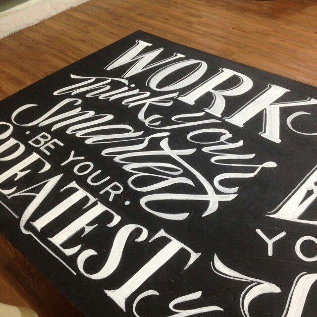 Wooden mural hand lettering  Posca white on black board 200x100cm