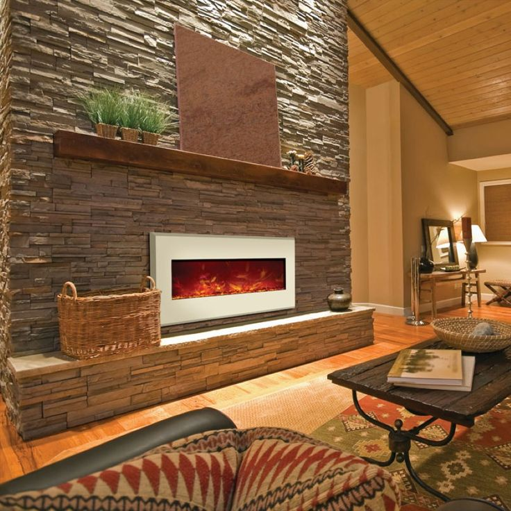 Wall Mount Electric Fireplace Or Recessed Within Designs: Awesome Built In Brown Mosaic Wall Mounted Electric