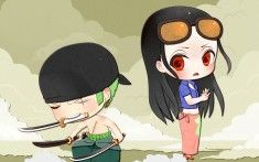 One Piece After 2 Years Chibi Roronoa Zoro and Robin Wallpaper
