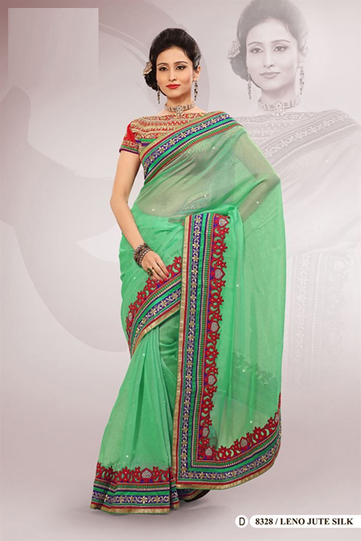 Green Polyester Embroidered Saree With Blouse