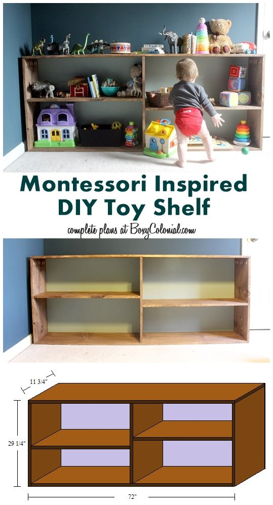 Complete tutorial on how to build this simple, Montessori-inspired toy shelf