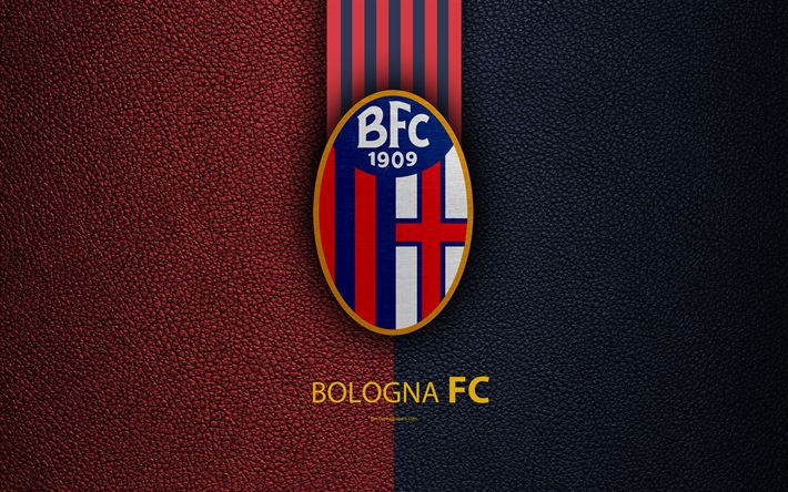 Download wallpapers Bologna FC, 4k, Italian football club, Serie A, emblem, logo, leather texture, Bologna, Italy, Italian Football Championships