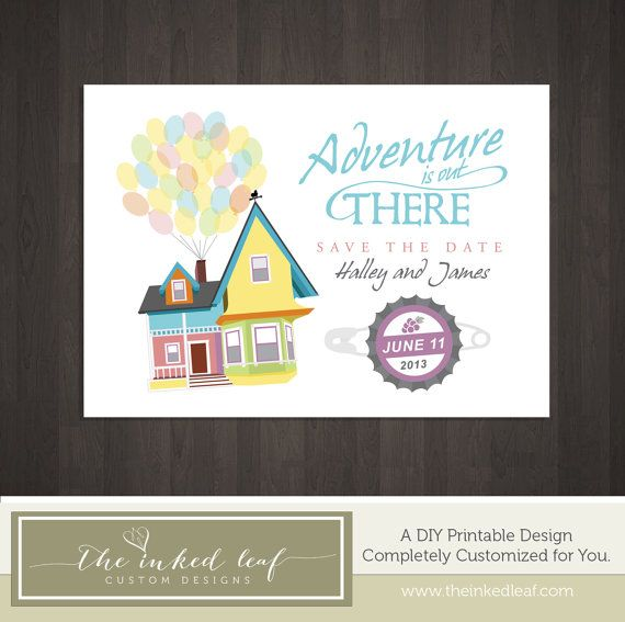Up Save the Date Printable Inspired By Disney Movie - Carl & Ellie's Balloon House w/ Grape Soda Bottle Cap Pin - Easy DIY Printable Design