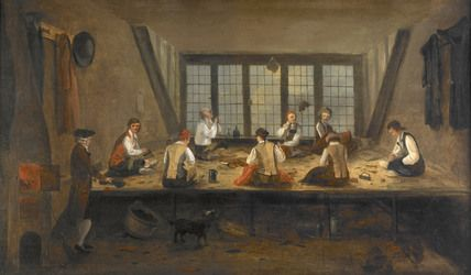 This image of a tailor's shop by an anonymous painter was painted in the late eighteenth century. The positioning and activity of the figures is relaxed and serves to show the activities of the tailors. The image depicts an urban tailor's shop. Although it is not beyond doubt that it is London, it looks no different to what the scene would like in the metropolis. Threading a needle, drinking and sowing are shown in a very rare visual insight into life in a late eighteenth century tailor's…