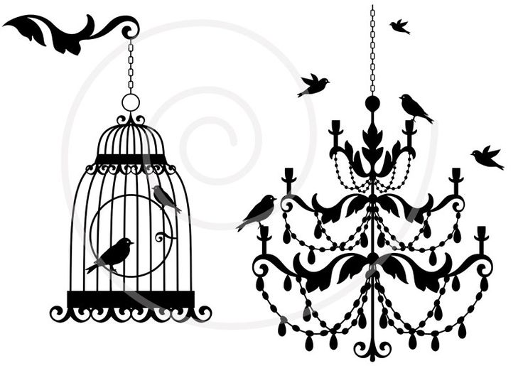 Old vintage chandelier with birds and birdcage, clipart, clip art, printable, digital print for home decoration, cottage chic. $5.00, via Etsy.
