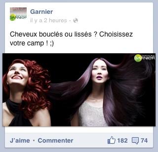 Post Garnier sur FB : la segmentation par le type de cheveux