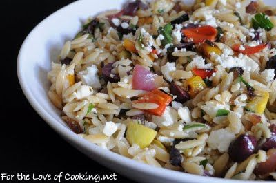 warm weather recipe - Mediterranean Orzo Salad with Grilled Vegetables