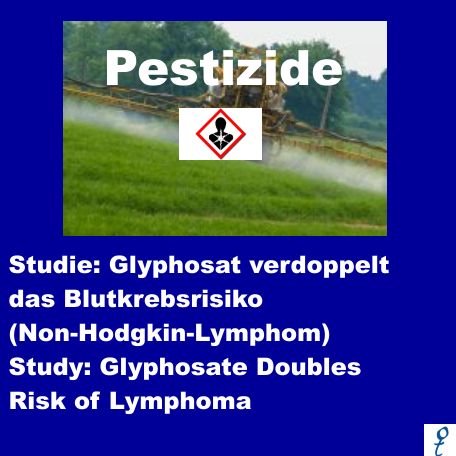 Glyphosate doubles risk of Lymphoma. Scientists at the International Agency for Research on Cancer have found what appears to be a strong link between pesticide exposure and a blood cancer called non-Hodgkin lymphoma. Analyzing 44 individual research projects published since 1980, the scientists, writing in the International Journal of Environmental Research. (translation at bottom of page)