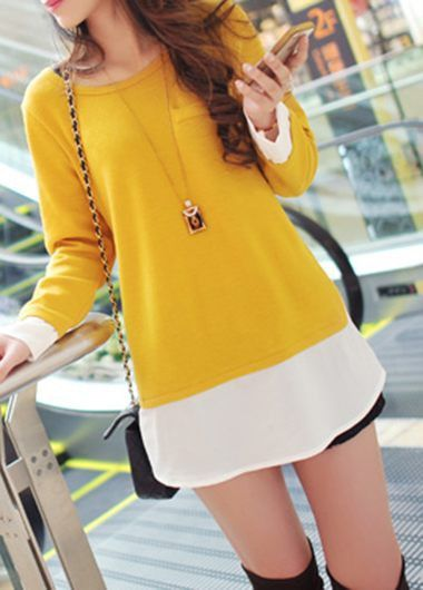 Yellow Long Sleeve Faux Two Piece T Shirt on sale only US$25.90 now, buy cheap Yellow Long Sleeve Faux Two Piece T Shirt at lulugal.com