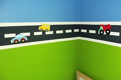 This has been on my to-do list for the boys' room since we only had one boy, haha. The road is magnetic!