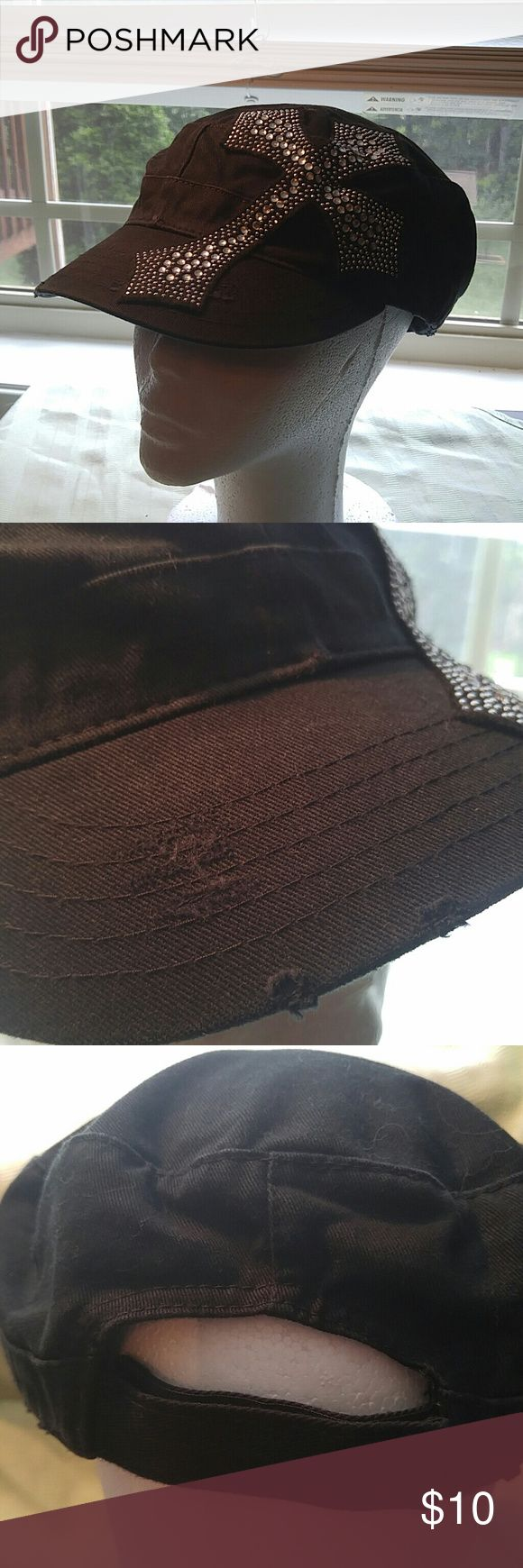 Olive Juice Black Military Hat w/Bling Cross Olive Juice Black Military Hat w/Bling Cross. Velcro closure. One size possibly....no Size found. Olive Juice Accessories Hats