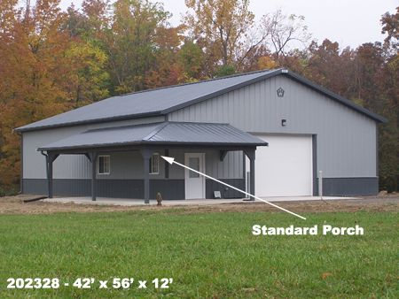 Standard porches buildings structures metal steel pole for Pole garage pictures