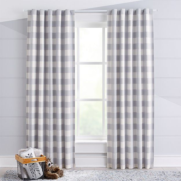 Grey Buffalo Check Blackout Curtain Crate And Barrel Blackout