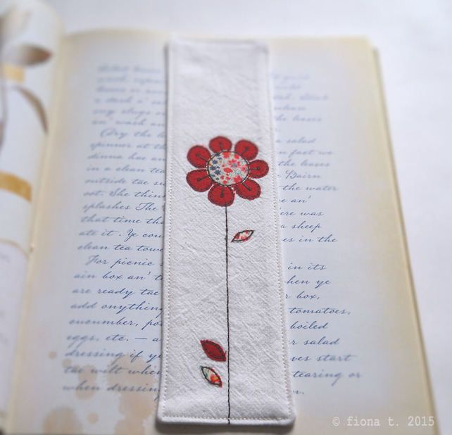 embroidered fabric bookmark - red flower