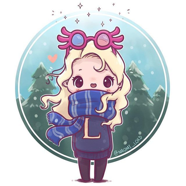 Wintry Luna With A Wrackspurt On Her Head Who Else Should I Draw In House Scarves 3 I Ll Harry Potter Cartoon Harry Potter Anime Cute Harry Potter