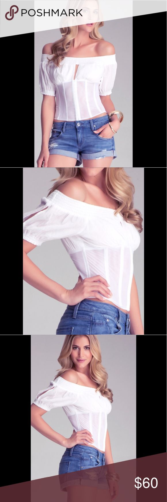 BEBE White Off Shoulder Peasant Corset Top L Make a statement in this understated and feminine Sultry Too by Bebe. Whitest white cotton peasant style that is off the shoulder. What makes it so sexy is the sheer corset fit with boning and hook and eye closure do that ultra flattering fit. Also features a peek a boo teardrop slit at center of bust. This is new with tags however the tag was accidentally removed. Size Large bebe Tops