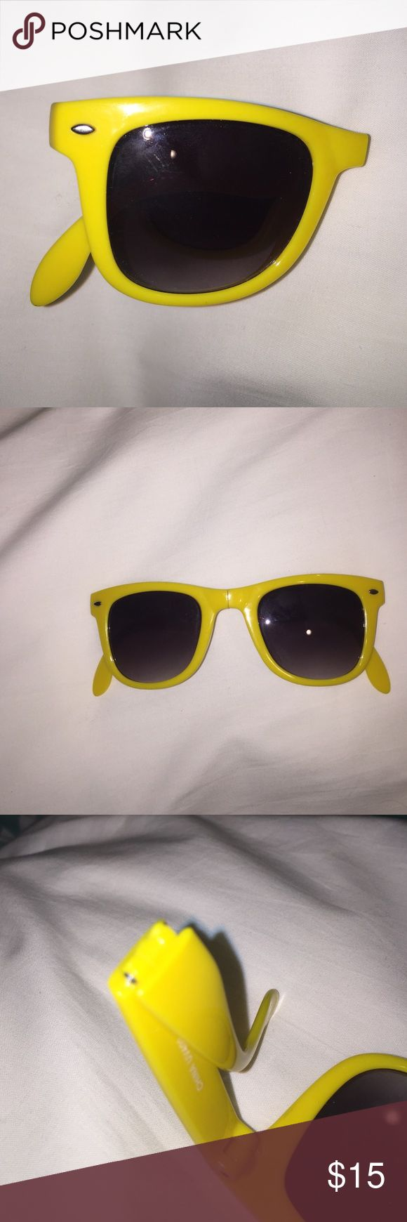 Folding wayfarer yellow sunglasses Yellow wayfarers that fold up for easy storage. One of a kind!! Accessories Sunglasses