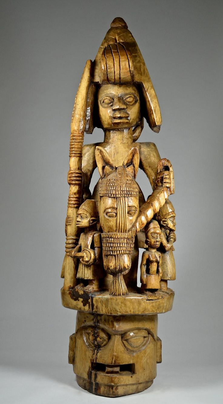 Yoruba Country of origin: Nigeria Material: Wood Approximate age: Early-Mid 20th C. Dimensions: 134cm - ArtTribalCollection.com