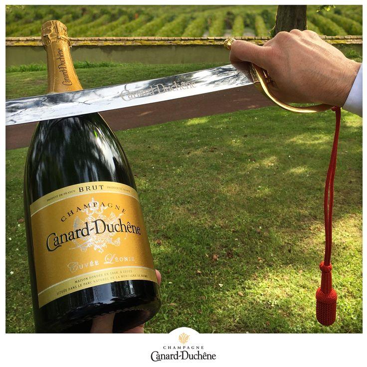 Sabrage au Domaine Canard-Duchêne, Ludes champagne Canard Duchene, cuvée Léonie dans le parc près des vignes de champagne