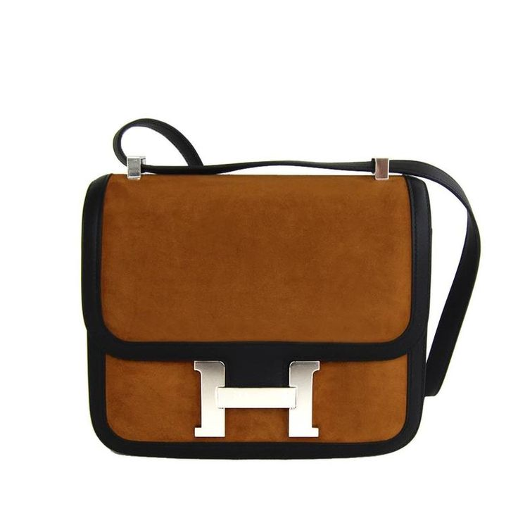 Hermes Alezan Doblis Black Swift Constance Double Gusset MM Bag | From a collection of rare vintage crossbody bags and messenger bags at https://www.1stdibs.com/fashion/handbags-purses-bags/crossbody-bags-messenger-bags/